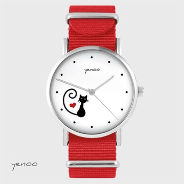 Watch - Cat, heart - red, nato