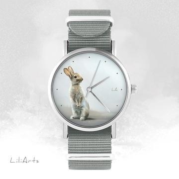 Zegarek - Zając - szary, nato