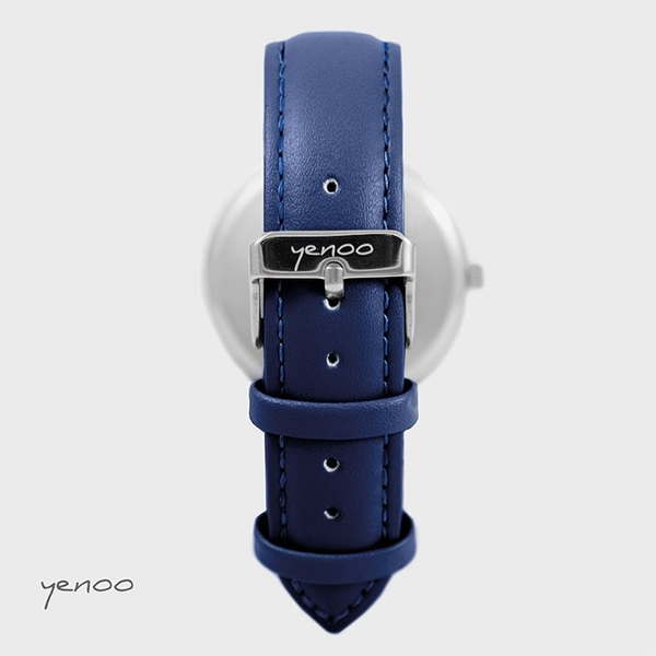 Yenoo watch - Hedgehog - navy blue, leather