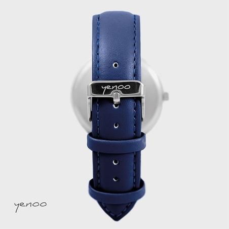 Zegarek, bransoletka - Folkowe ptaszki, niebieskie - granatowy