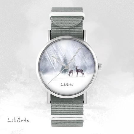 Watch - Little deers - grey, nylon