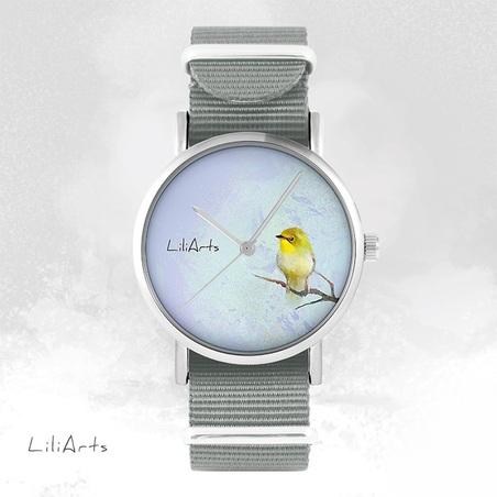 Watch - Yellow Bird - grey, nato
