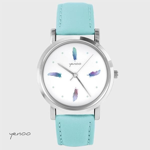 Fashion watch, Bracelet - Turquoise feathers - turquoise