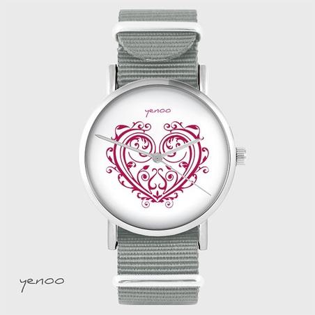 Watch - Ornamental heart - grey, nato
