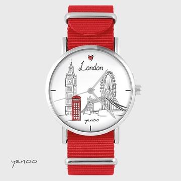 Watch - London - red, nylon