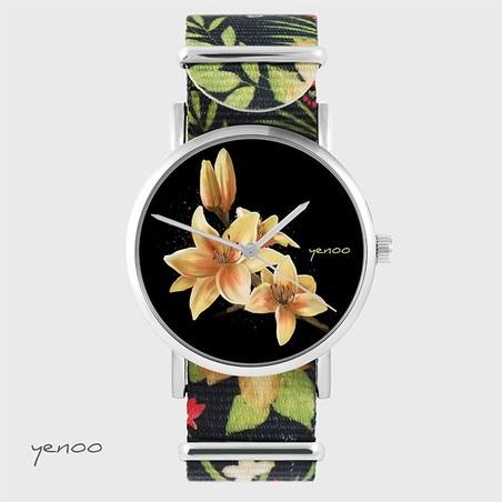 Watch - Yellow lily - black, flowers, nylon