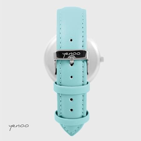 Zegarek, bransoletka - Turkusowe piórka - turkusowy
