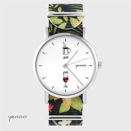 Watch - Coffee and wine - black, flowers, nato