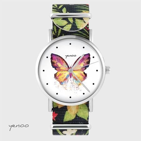 Watch - Butterfly - black, flowers, nato