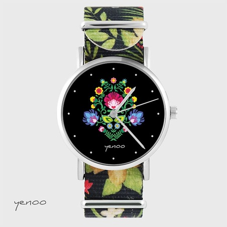 Watch - Folk, black - black, flowers, nylon