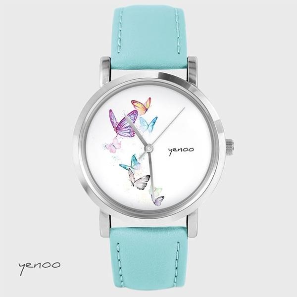 Zegarek, bransoletka - Motyle - turkusowy