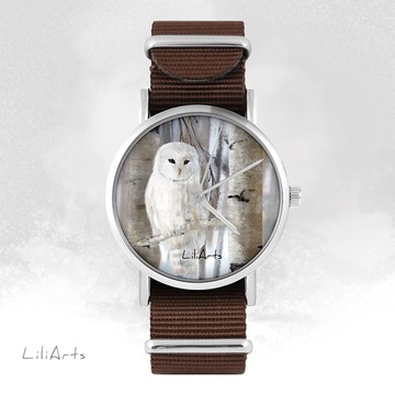 Watch - White owl - brown,...