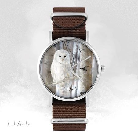 Watch - White owl - brown, nylon