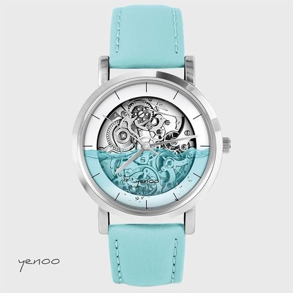 Zegarek, bransoletka - Steampunk wodny - turkusowy