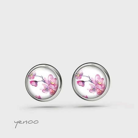 Earrings with graphics, mini - Flowers