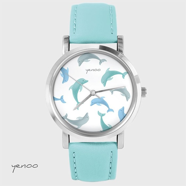 Fashion watch, Bracelet - Dolphins - turquoise