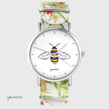 Watch - Bee - flowers, nylon