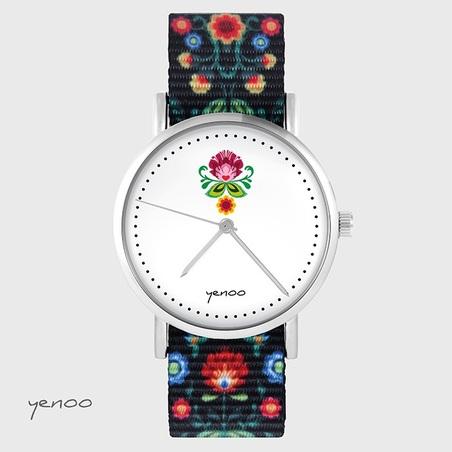 Watch - Folk flower - flolk black, nylon