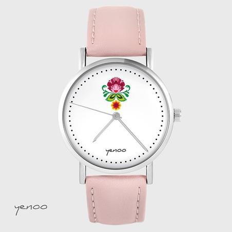 Yenoo watch - Folk flower - powder pink, leather