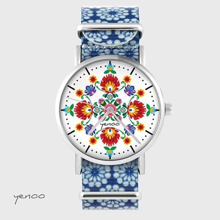 Watch - Folk mandala - nylon, blue, flowers