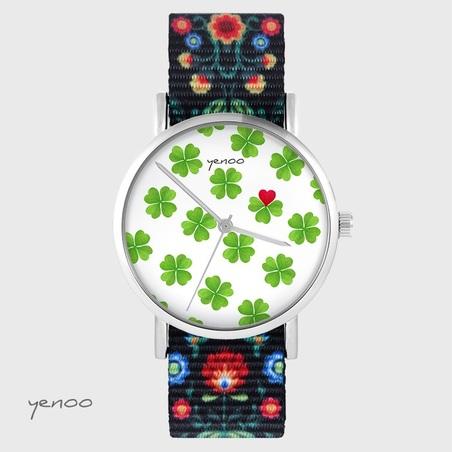 Yenoo watch - Lucky heart - folk black, nylon
