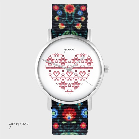 Yenoo watch - Scandinavian heart, red - folk black, nato