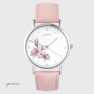 Zegarek yenoo - Lilia - pudrowy róż, skórzany