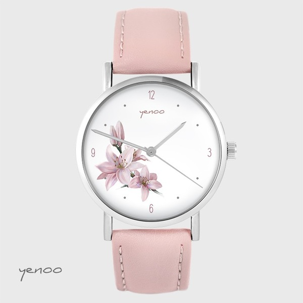 Yenoo watch - Lily - powder pink, leather