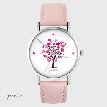 Zegarek yenoo - Drzewo miłości - pudrowy róż, skórzany