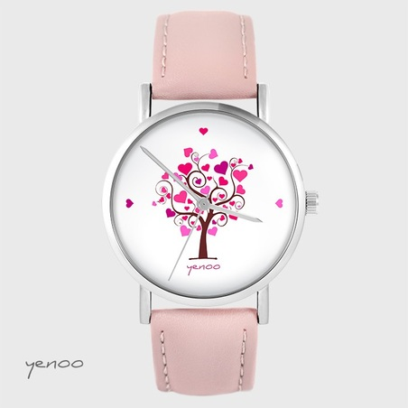 Yenoo watch - Tree of love - powder pink, leather