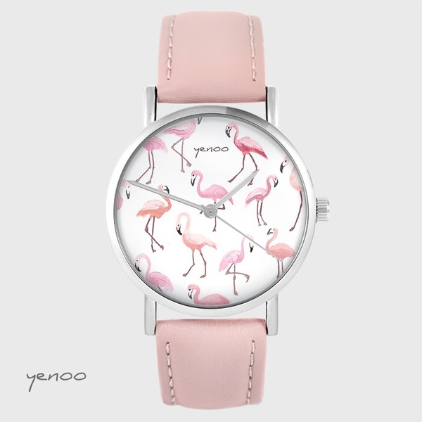 Yenoo watch - Flamingos - powder pink, leather