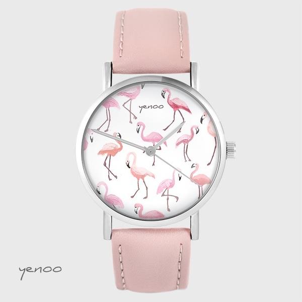 Zegarek yenoo - Flamingi - pudrowy róż, skórzany