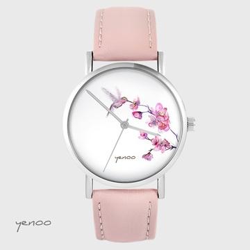 Zegarek yenoo - Koliber - pudrowy róż, skórzany