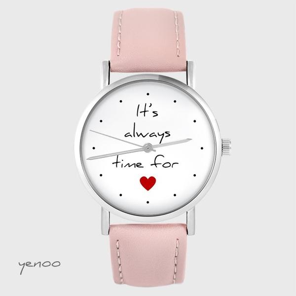 Zegarek yenoo - It`s always time for love - pudrowy róż, skórzany