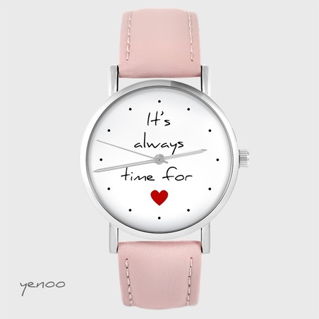 Watch yenoo - It`s always time for love - powder pink, leather