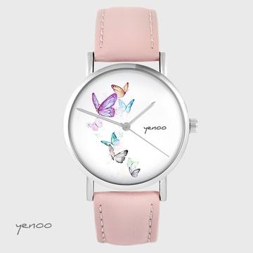 Zegarek yenoo - Motyle - pudrowy róż, skórzany