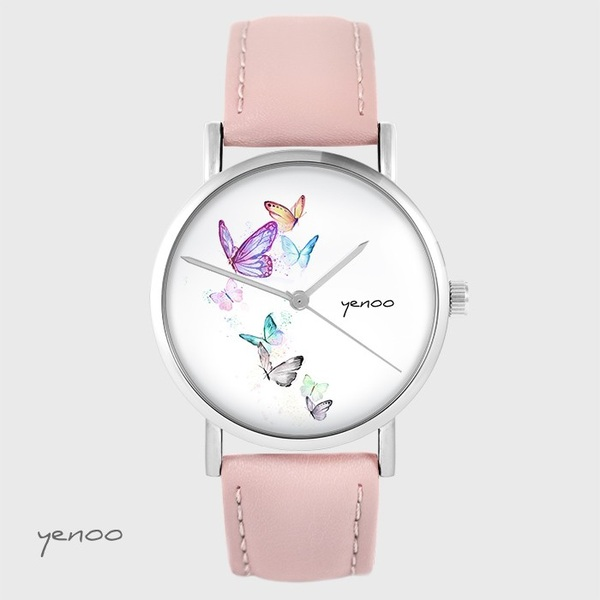 Yenoo watch - Butterflies - powder pink, leather