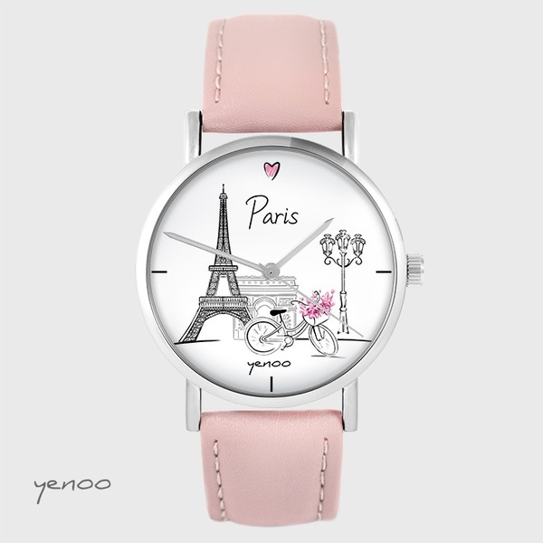 Yenoo watch - Paris - powder pink, leather
