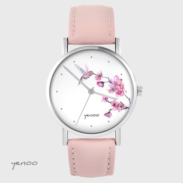 Zegarek yenoo - Koliber oznaczenia - pudrowy róż, skórzany