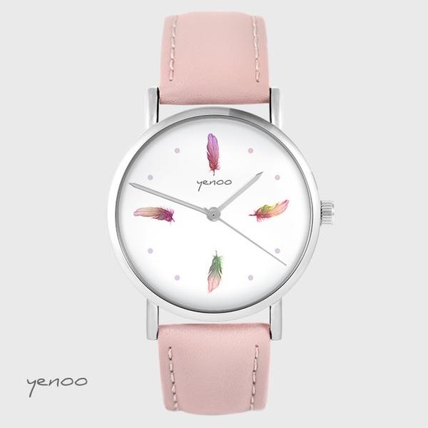 Zegarek yenoo - Kolorowe piórka - pudrowy róż, skórzany
