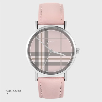 Yenoo watch - Tartan, pink - powder pink, leather