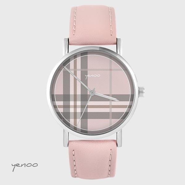 Zegarek yenoo - Szkocka krata, różowy - pudrowy róż, skórzany