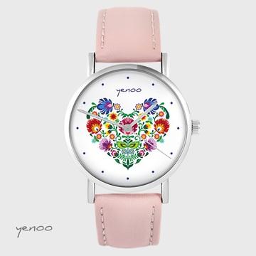 Yenoo watch - Folk heart - powder pink, leather