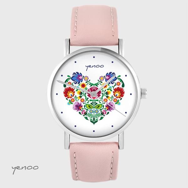 Zegarek yenoo - Folkowe serce - pudrowy róż, skórzany