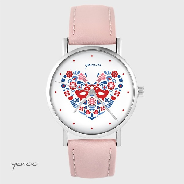 Zegarek yenoo - Ptaszki folkowe - pudrowy róż, skórzany