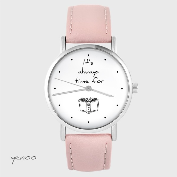 Watch yenoo - It is always time for a book - powder pink, leather