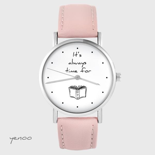 Zegarek yenoo - It is always time for a book - pudrowy róż, skórzany