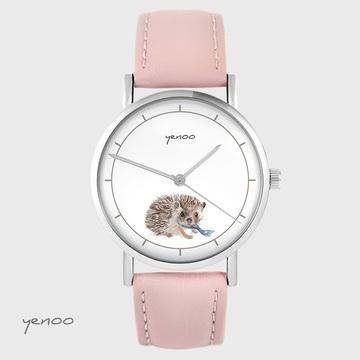 Yenoo watch - Hedgehog - powder pink, leather