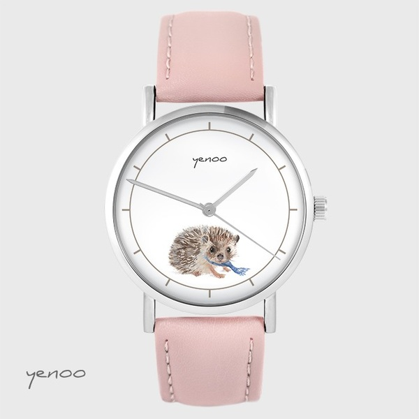 Zegarek yenoo - Jeżyk - pudrowy róż, skórzany