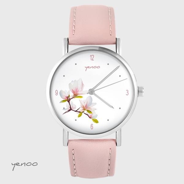 Zegarek yenoo - Magnolia - pudrowy róż, skórzany
